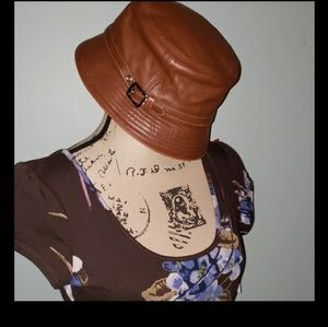 New Coach Leather Brand Embossed Bucket Hat